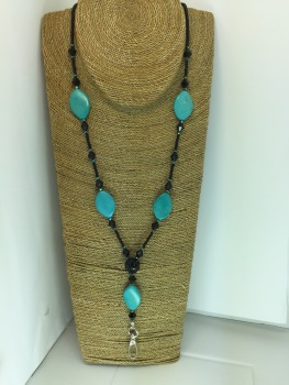 Black & Turquoise Beaded Lanyard