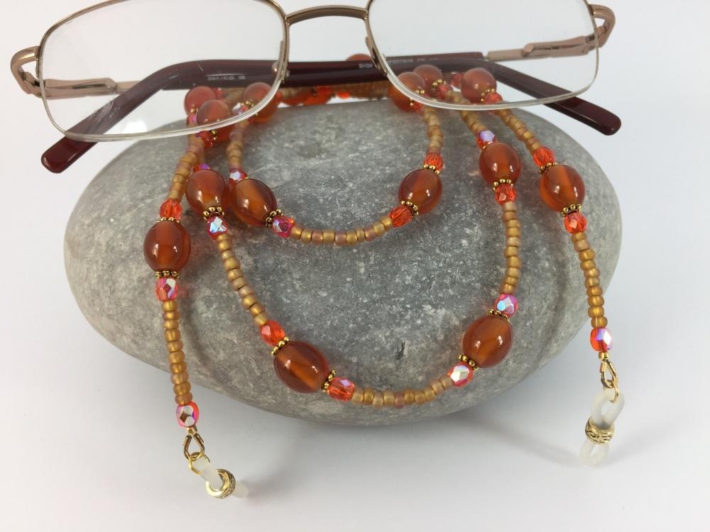 Burnt Orange Agate Rice Bead Glasses Chain