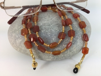 Burnt Orange Agate Glasses Chain