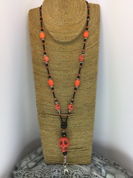 Orange Howlite Skull Lanyard