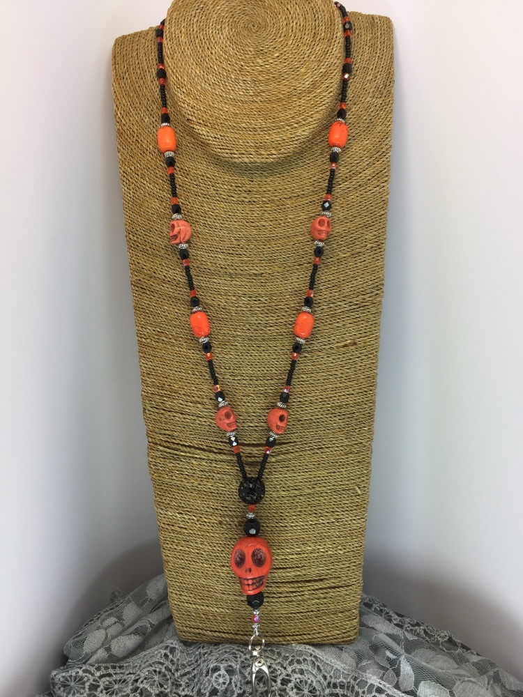 Black & Orange Howlite Skull Lanyard