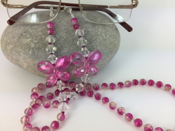 Pink & Silver Crackle Glass Bead Butterfly Glasses Chain