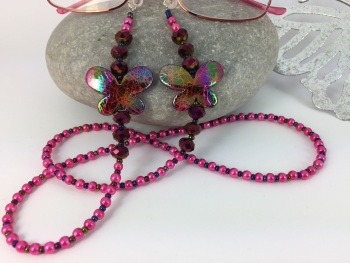 Hot Pink Butterfly Glasses Chain
