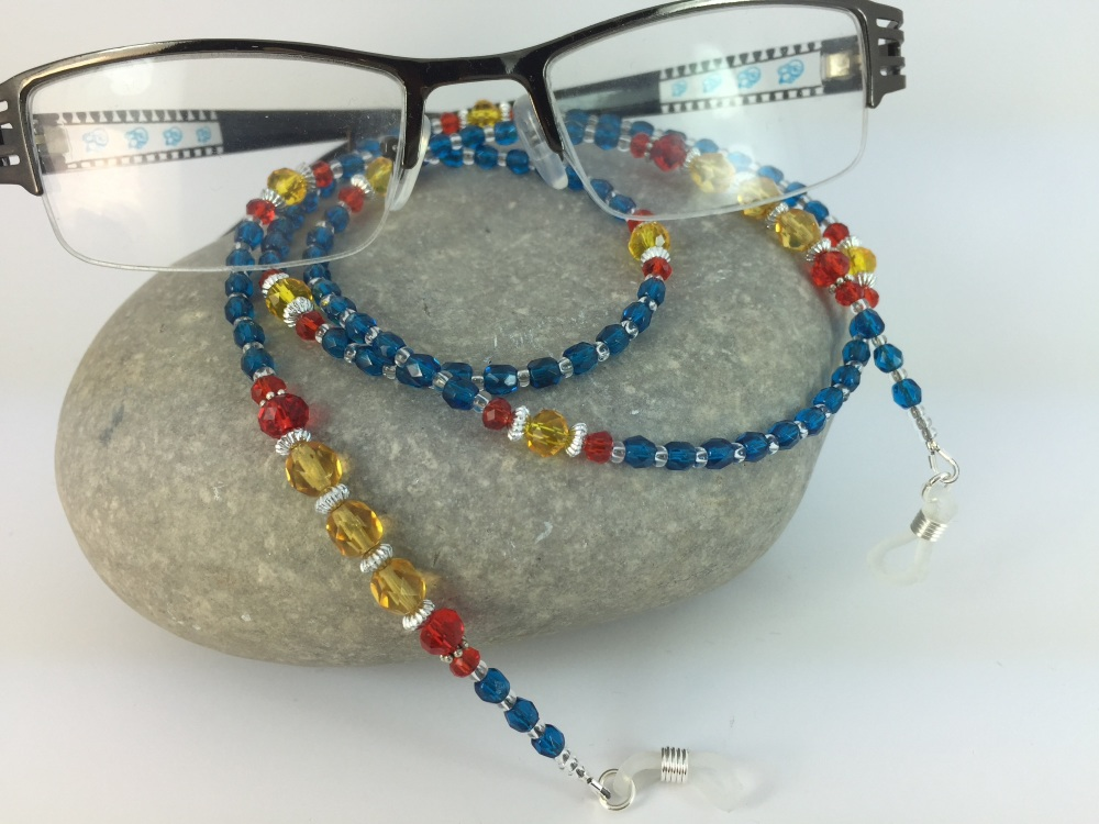 Blue Red & Yellow Faceted Glass Glasses Chain