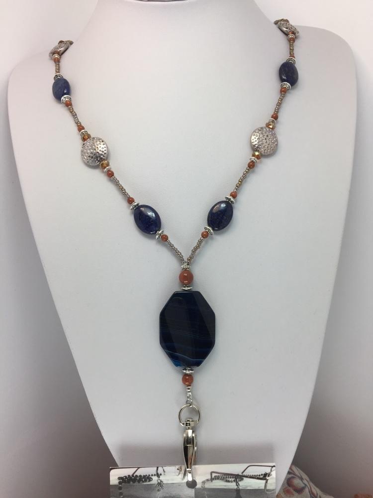 Lapis Blue Agate ID Lanyard