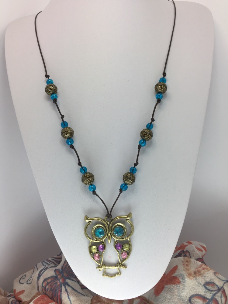 Rustic Owl Crackle Bead Glasses Chain