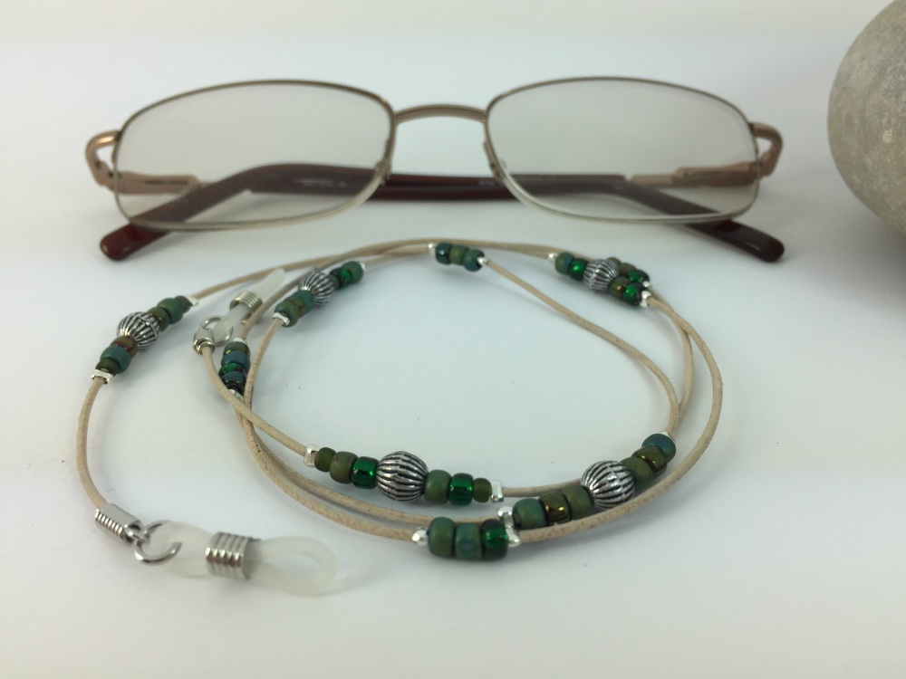 Natural Leather & Green Tones Glasses Chain