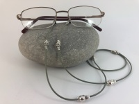 Grey Leather Skull Glasses Chain