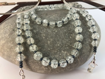 Clear Crackle Bead Glasses Chain