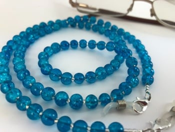 Blue Crackle Bead Glasses Chain