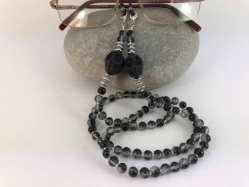 Black Large Howlite Skull Crackle Bead Glasses Chain