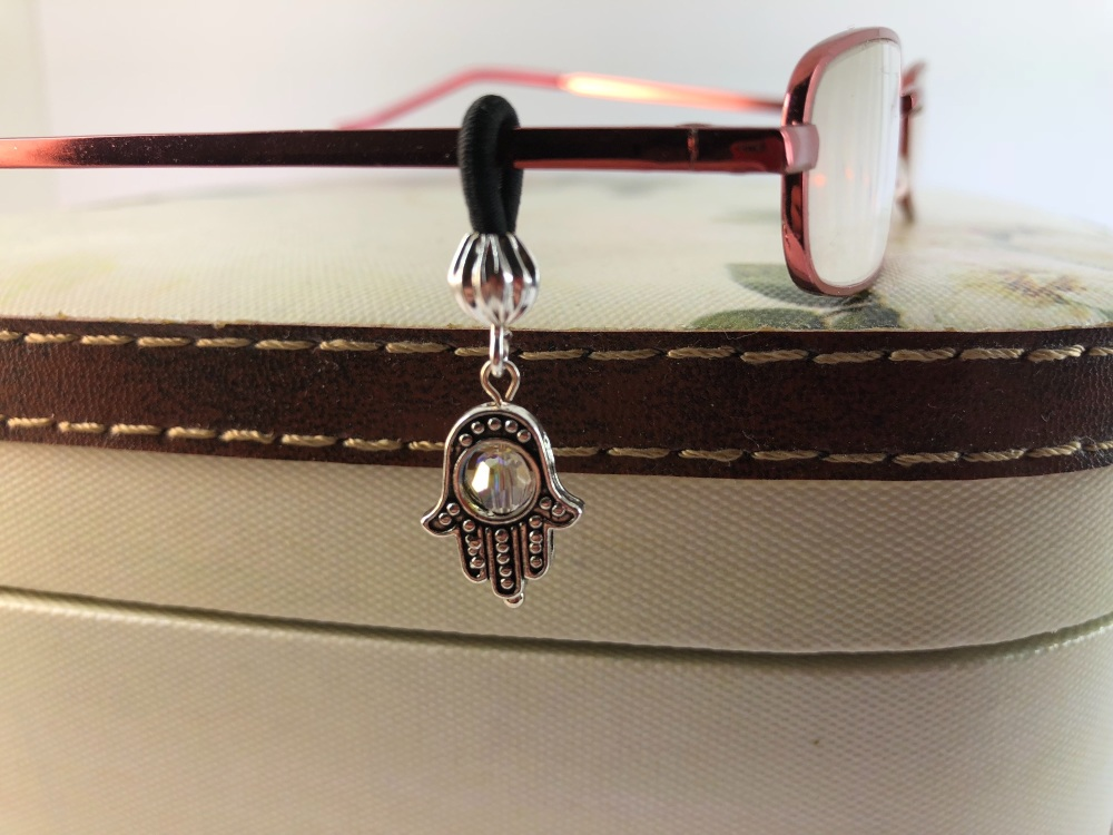 Silver Coloured Hamsa Hand Glasses Charm