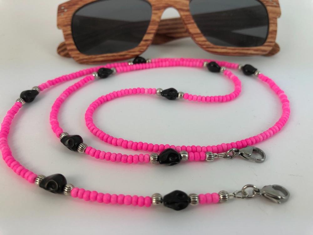 Hot Pink Skull Glasses Chain