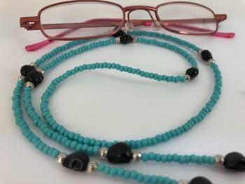 Turquoise & Black Skull Glasses Chain