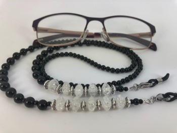 Black Onyx & Clear Quartz Glasses Chain