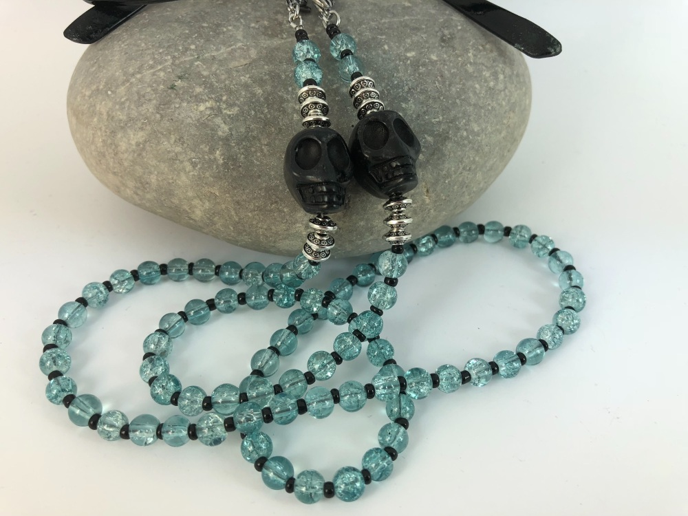 Ice Mint Large Skull Crackle Bead Glasses Chain