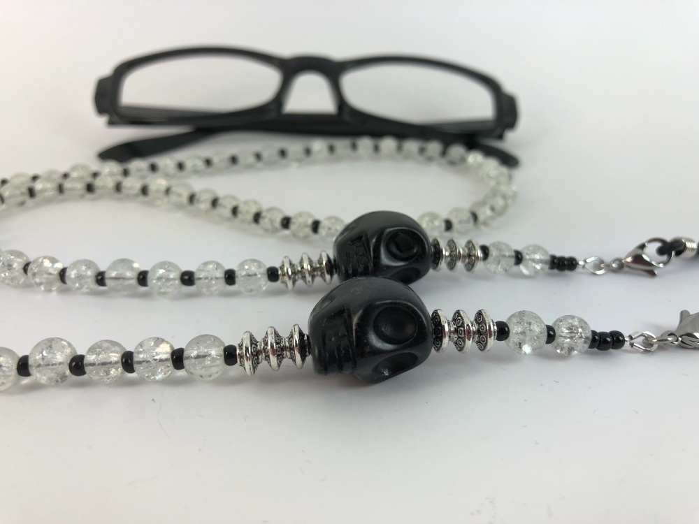 Clear Large Skull Crackle Bead Glasses Chain