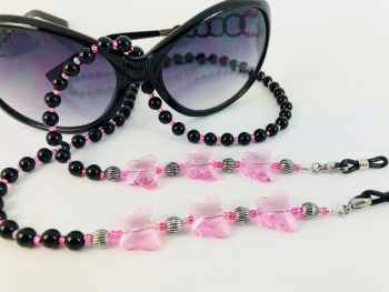 Pink Glass Butterfly Onyx Glasses Chain