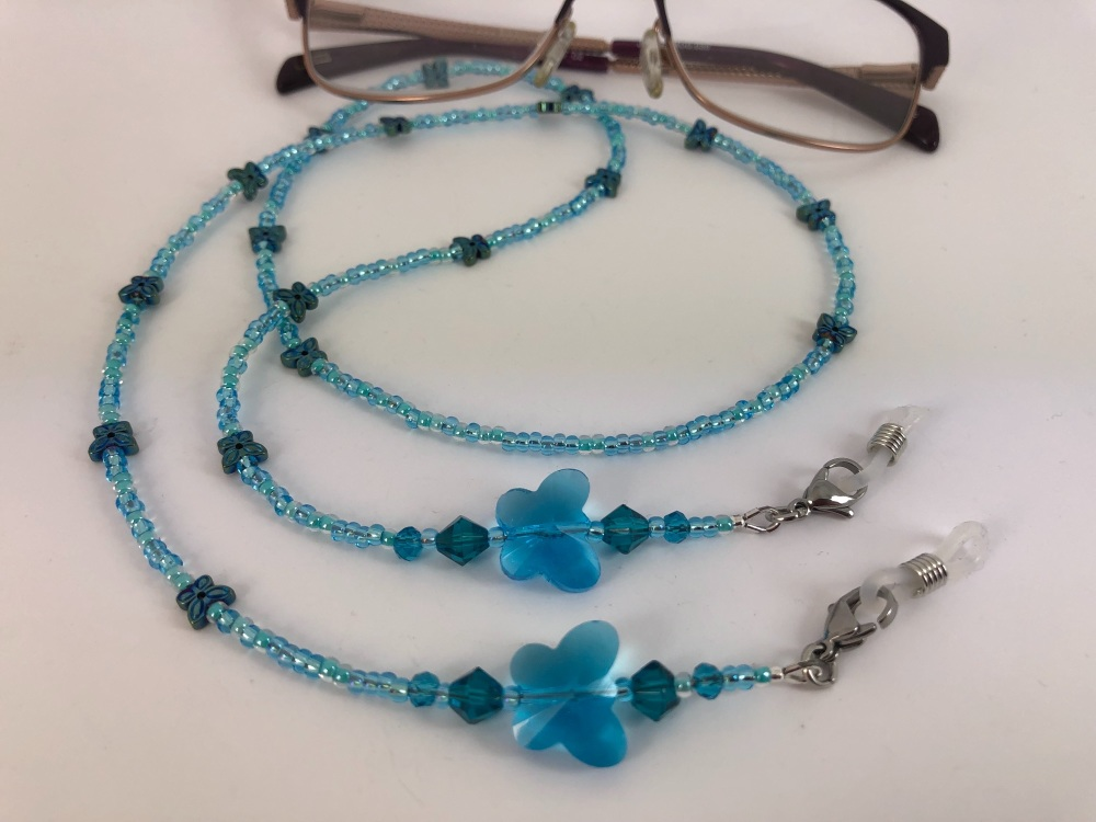 Aqua Butterfly Glasses Chain