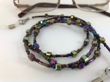 Rainbow Square Beaded Glasses Chain