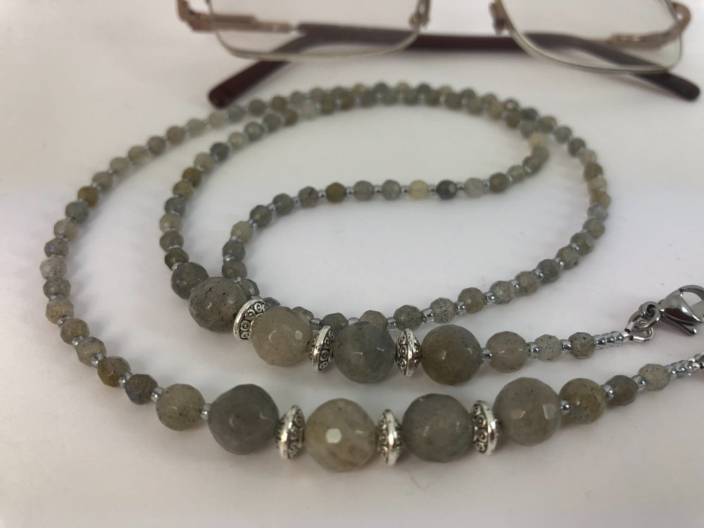 Faceted Labradorite Glasses Chain