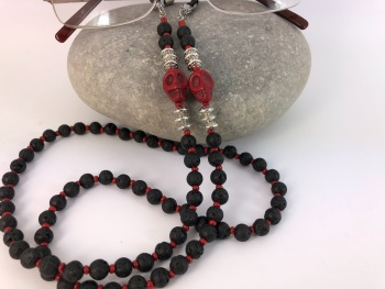 Red Skull Lava Bead Glasses Chain