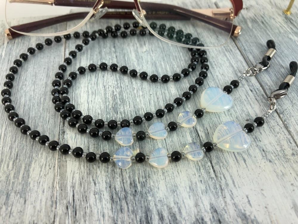 Black Onyx & Opalite Heart Glasses Chain