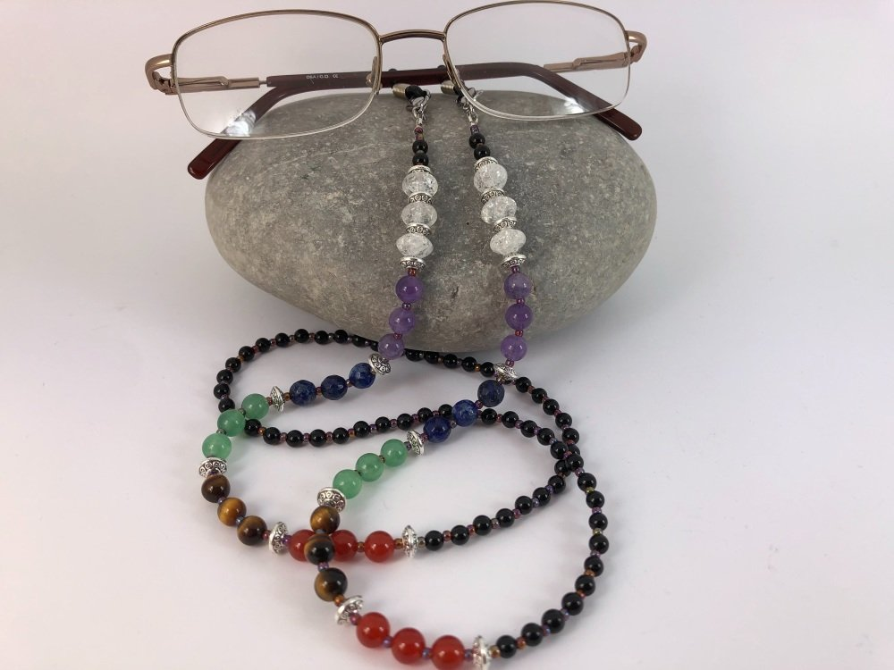 Multi Gemstone Chakra Glasses Chain