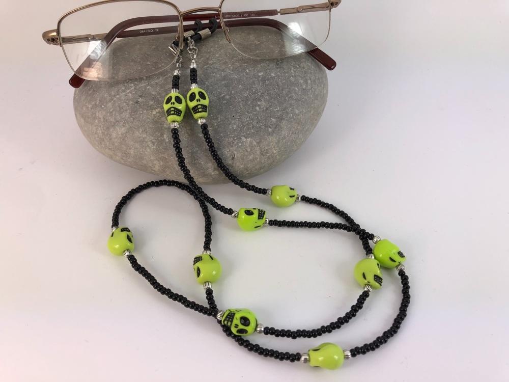 Black & Lime Green Skull Glasses Chain