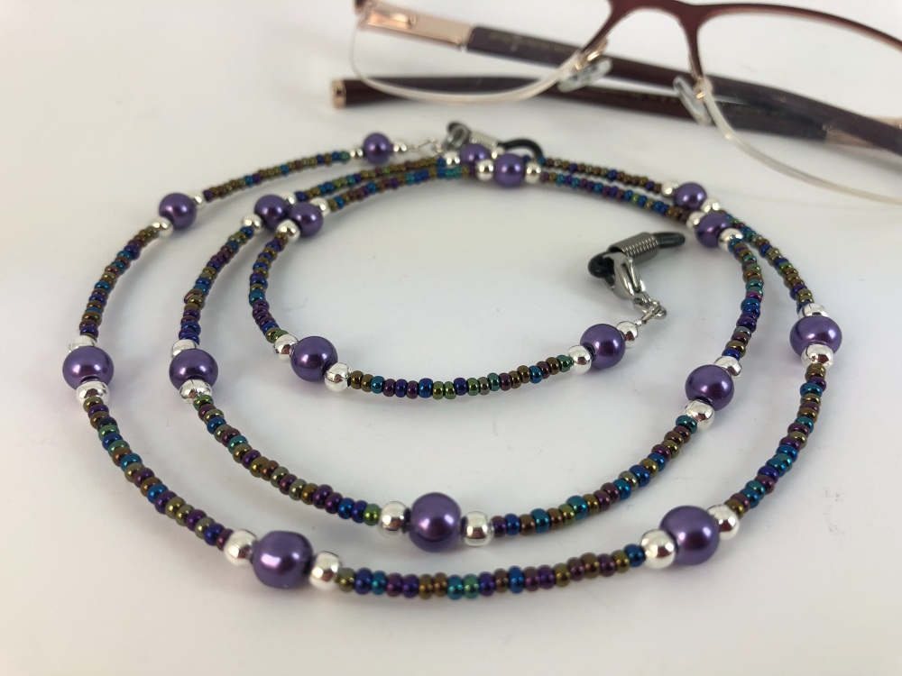 Purple Glass Pearl Rainbow Glasses Chain