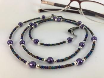 Purple Glass Pearl Rainbow Glasses Chain