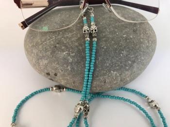 Turquoise & Silver Skull Glasses Chain