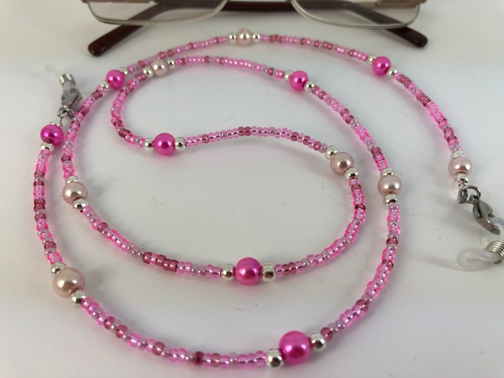 Pink Two Tone Glass Pearl Glasses Chain