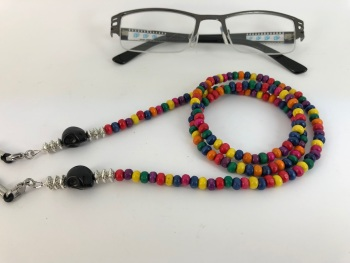 Multi Coloured Wood Skull Glasses Chain