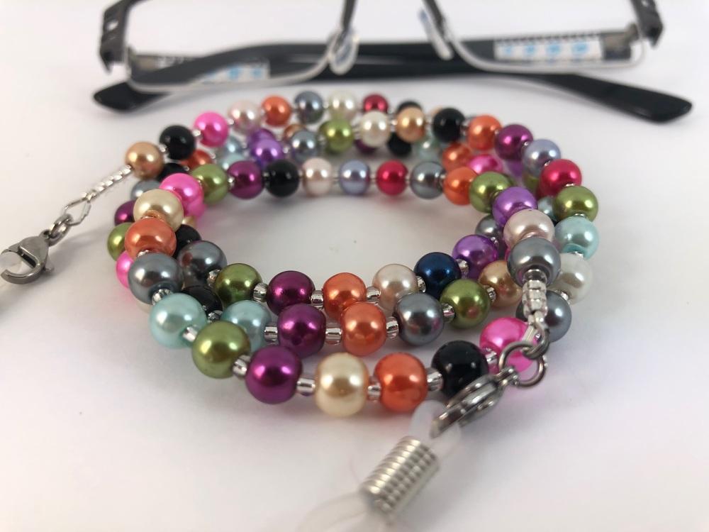 Multi Coloured Glasses Pearl Glasses Chain
