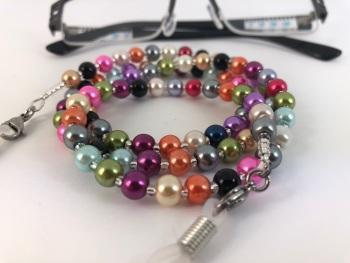 Multi Coloured Glass Pearl Glasses Chain