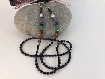 Black Glass Pearl Chakra Glasses Chain