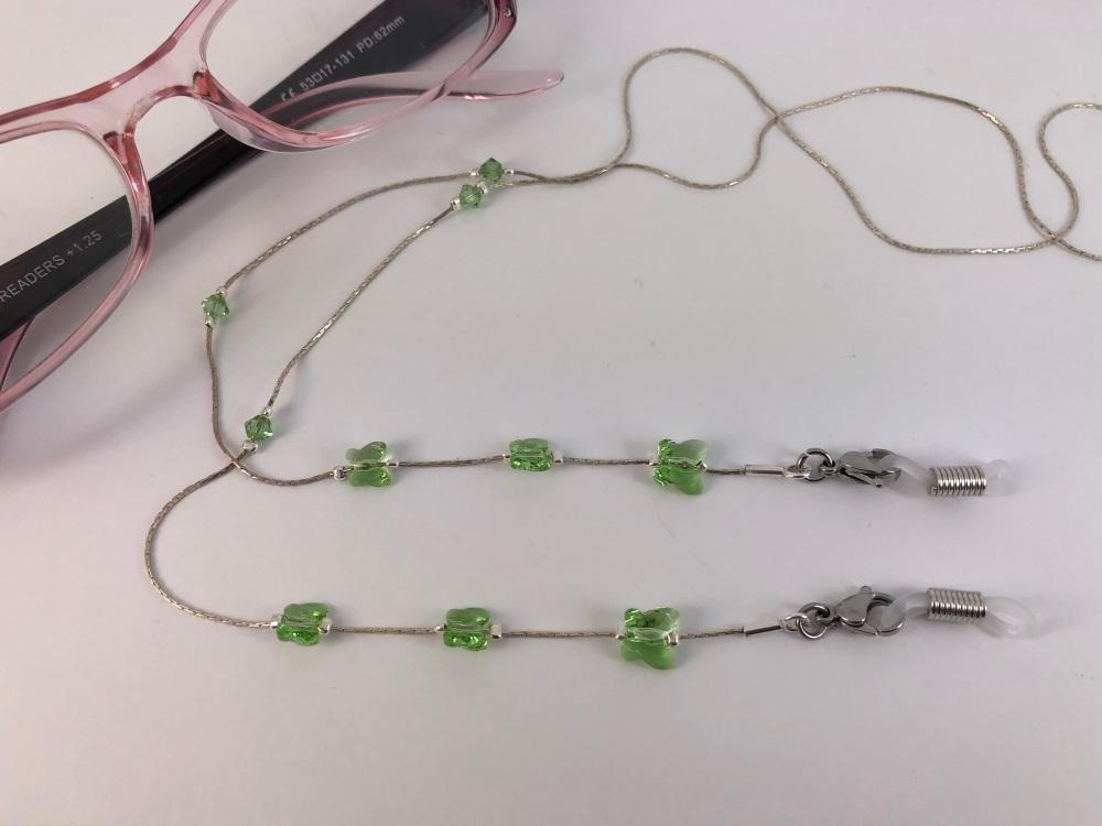 Peridot Swarovski Crystal Butterfly Glasses Chain