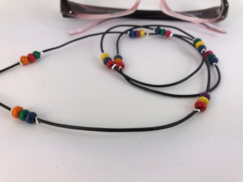 Black Leather Multicoloured Wooden Beaded Glasses Chain