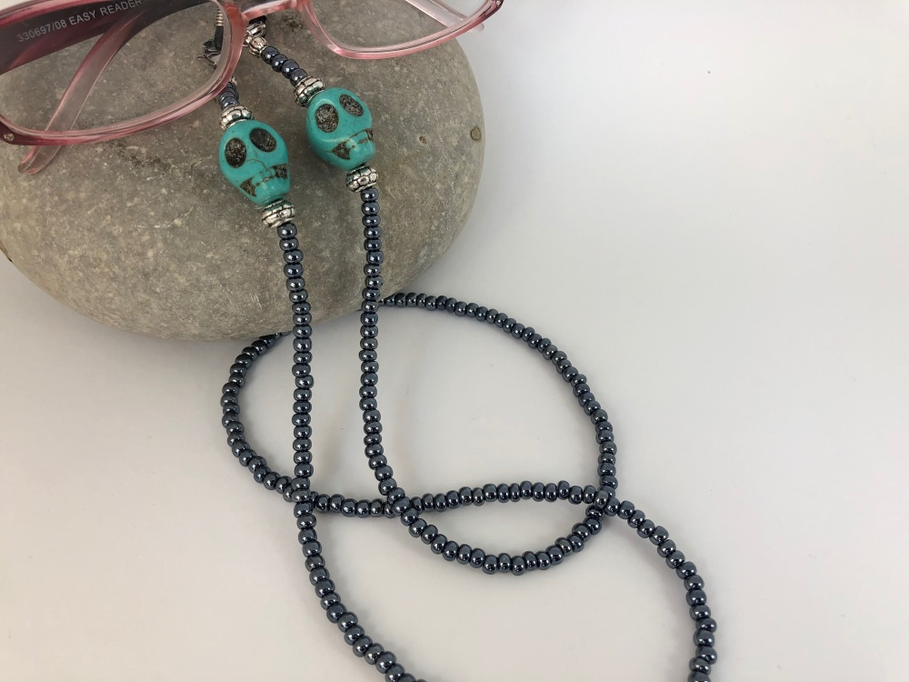 Gunmetal Large Skull Glasses Chain Choice of Colour