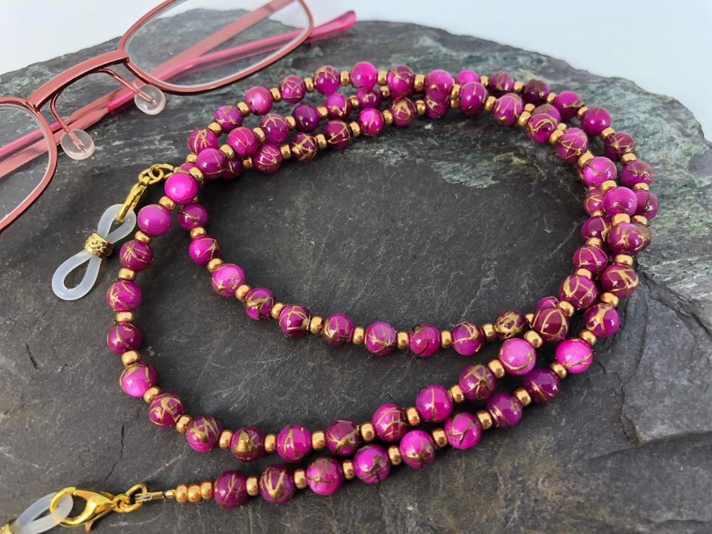 Pink & Gold Shell Glasses Chain