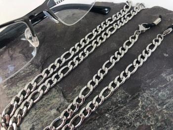 Chunky Silver Tone Figaro Glasses Chain