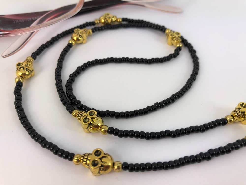 Black & Gold Skull Glasses Chain