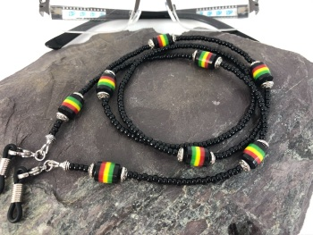 Chunky Rasta Beaded Glasses Chain