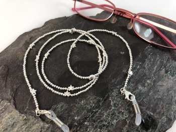 Sterling Silver Moon and Stars Glasses Chain