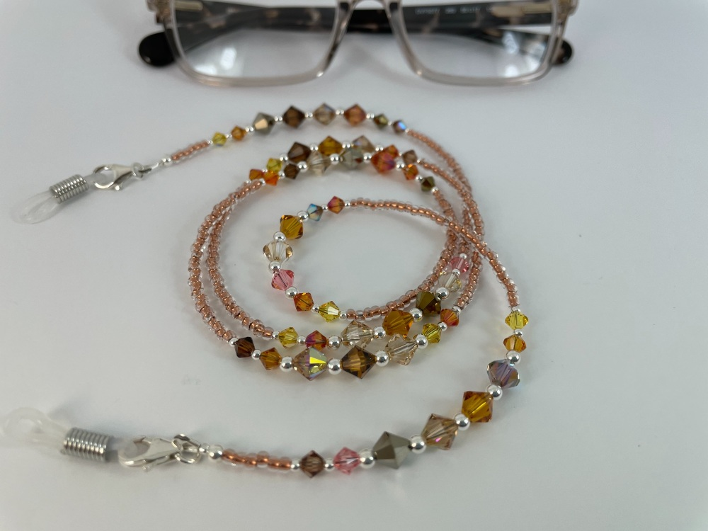 Copper Swarovski Crystal & Sterling Silver Glasses Chain