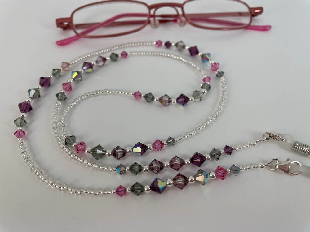 Pink Tone Swarovski Crystal Sterling Silver Glasses Chain