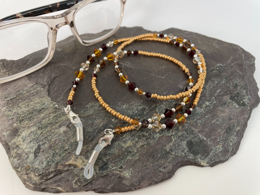 Gold Swarovski Crystal Glasses Chain