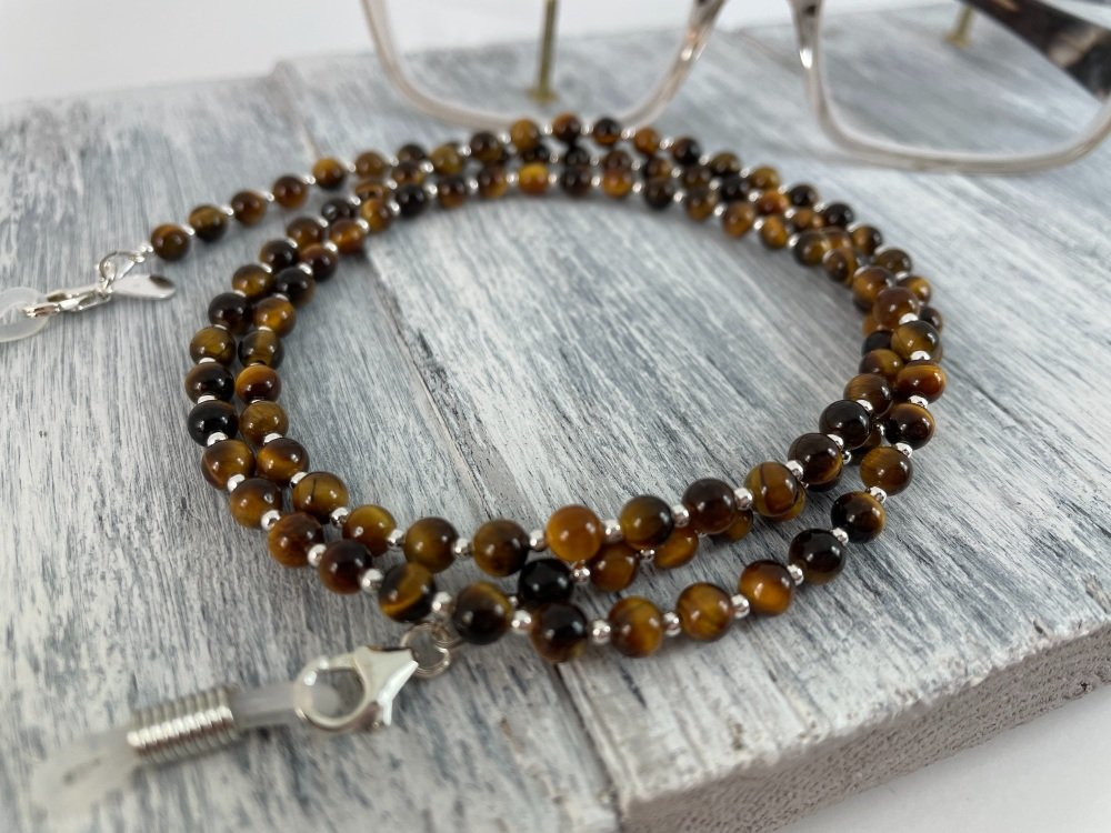 Tiger's Eye & Sterling Silver Glasses Chain