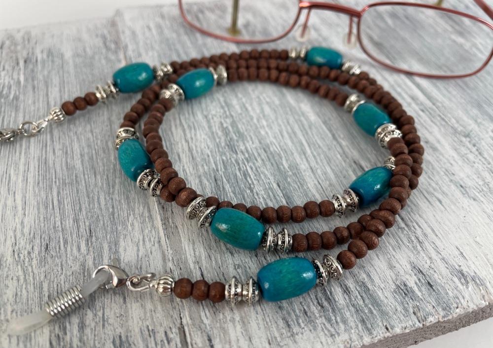 Turquoise Wooden Tibetan Glasses Chain